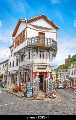 Old town in Gjirokaster, UNESCO World Heritage Site, Albania - Stock Photo