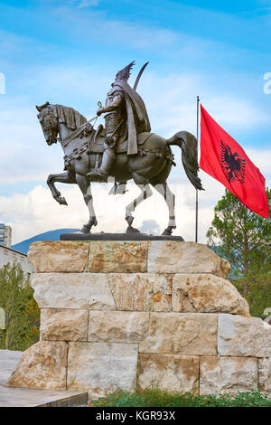 Statue of Skanderbeg, Skanderbeg Square, Tirana, Albania - Stock Photo