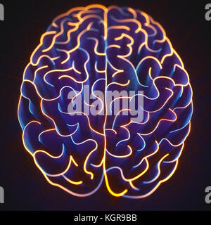 Walls shaped like a brain in a maze with no way out. - Stock Photo