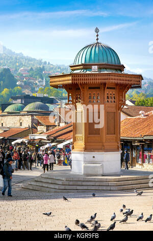 Sebilj Fountain, Bascarsija district, Sarajevo Old Town, Bosnia and Herzegovina - Stock Photo