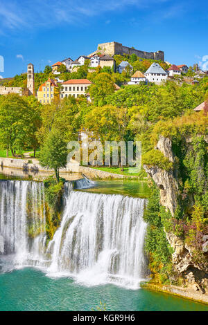 Pliva River Waterfall and castle from 14th century, Jajce town, Bosnia and Herzegovina - Stock Photo