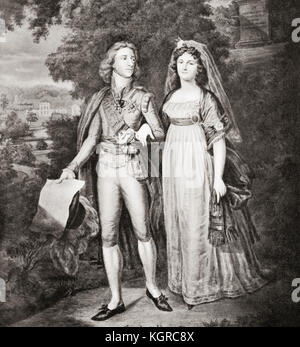 Gustav IV Adolf of Sweden and his wife Frederica of Baden.  Gustav IV Adolf or Gustav IV Adolph, 1778 –  1837.  - Stock Photo