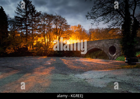 Over looking Cenarth bridge at night - Stock Photo