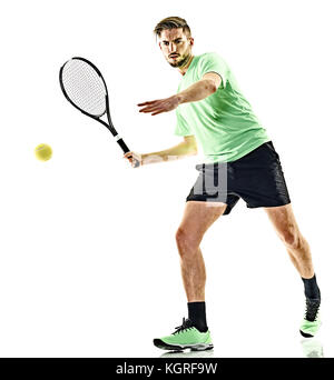 one caucasian  man playing tennis player isolated on white background - Stock Photo