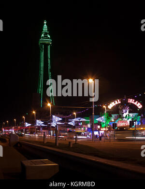 The green tower during Blackpool Illuminations - Stock Photo
