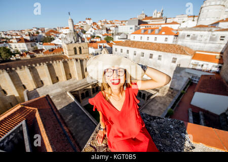 Woman traveling in Coimbra city, Portugal - Stock Photo