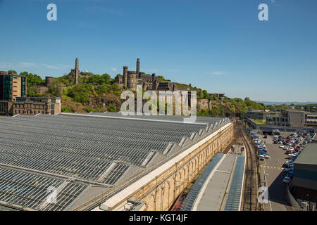 EDINBURGH, SCOTLAND - 26th May 2017 - Waverly is the main station in Edinburgh with over 20 platforms in operation - Stock Photo