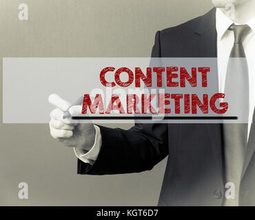 content marketing concept. advertising, internet and business background - Stock Photo