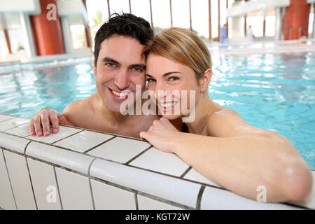 Couple having fun in spa center - Stock Photo