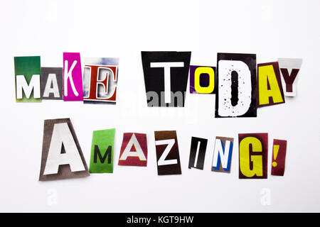 A word writing text showing concept of Make Today Amazing made of different magazine newspaper letter for Business - Stock Photo