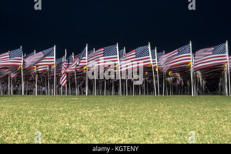 View of Multiple American Flags in a Windy Night - Stock Photo