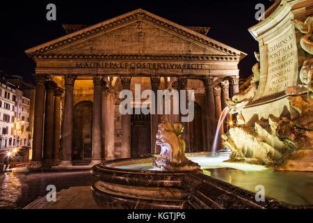 The Pantheon and Piazza della Rontonda, Rome, Italy. - Stock Photo