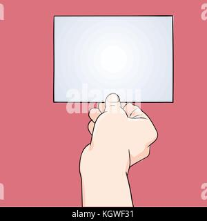Illustration hand holding blank paper isolated on pink background, for business banner - Vector Illustration. - Stock Photo