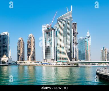 DUBAI, UAE - 31OCT2017: Grosvenor House Towers (left) in Dubai Marina. - Stock Photo