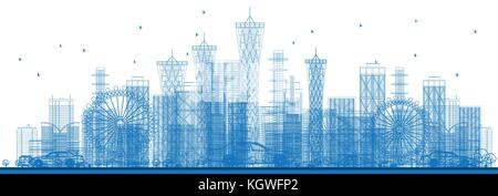 Outline City Skyscrapers and Buildings in Blue Color. Vector Illustration. Business Travel and Tourism Concept. - Stock Photo