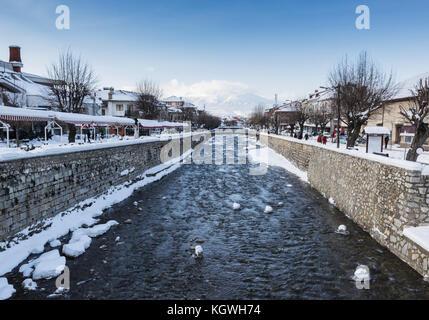 Lumbardhi river at the old city of Prizren, Kosovo in winter season at morning - Stock Photo