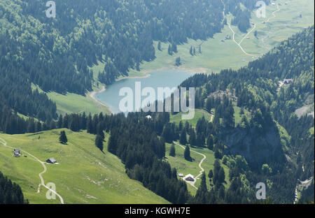 aerial view to the mountain lake Seealpsee at the alpstein massif - Stock Photo