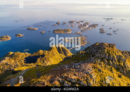 Top of mount Festvagtinden on Lofoten islands in Norway - Stock Photo