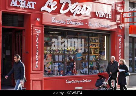 Comics bookstore in Brussels, Belgium - Stock Photo