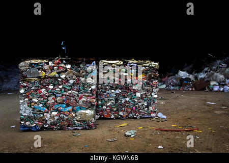 24 Dec 2017,Nakornrajsima Thailand, photo group of compress aluminum can in recycle factory - Stock Photo