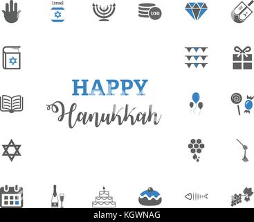Jewish Holiday Hanukkah icons set. Vector illustration - Stock Photo