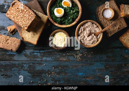 Breakfast with rye bread - Stock Photo