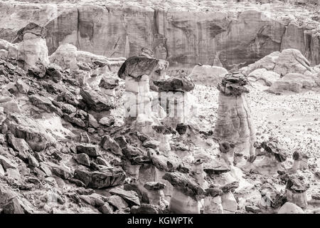 Rimrock Toadstools and Hoodoos amidst a jumble of boulders in Grand Staircase Escalante National Monument, Utah.(Black - Stock Photo