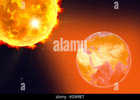 Computer illustration showing a solar flare hitting Earth. Earth is centred on Arabian Peninsula. Elements of this - Stock Photo