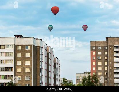 Belarus, Minsk - 2017.09.17: Balloons over city houses on the celebration of aeronautics - Stock Photo
