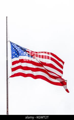 American flag on white background - Stock Photo