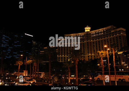 LAS VEGAS, USA - AUG 5: Night view of the famous Bellagio Hotel in Las Vegas, on August 5 2012 - Stock Photo
