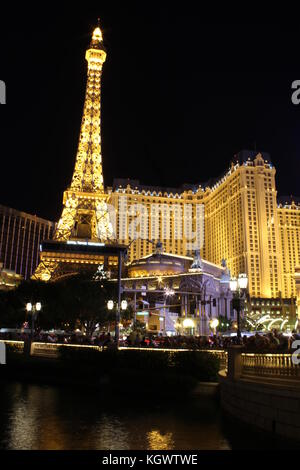 LAS VEGAS, USA - AUG 5: Las Vegas By Night. View of the Paris Hotel with its Tour Eiffel illuminated on August 5 - Stock Photo