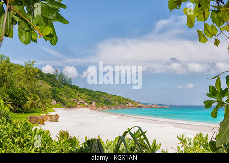arriving to petite anse beach on la digue island of the seychelles archipelago - Stock Photo
