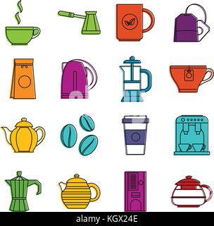 Tea and coffee icons doodle set - Stock Photo