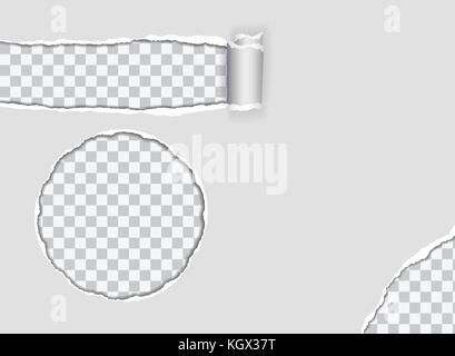 Set of vector illustration of torn paper with torn corner, isolated on transparent background - Stock Photo