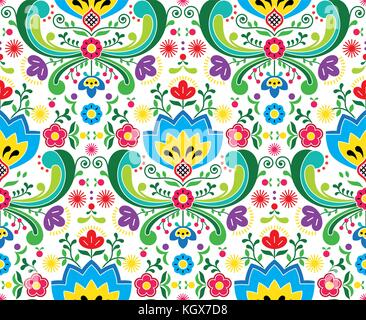 Norwegian folk art vector seamless pattern - Rosemaling style embroidery design - Stock Photo