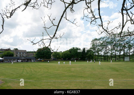 Cricket match on the green at Swinbrook, Oxfordshire, UK. - Stock Photo
