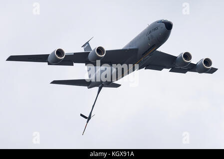 A Boeing KC-135 Stratotanker tanker aircraft of the 157th Air Refueling Wing of the New Hampshire Air National Guard - Stock Photo
