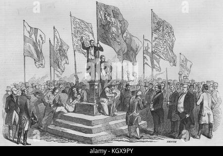 Lord Mayor's view of the Thames. Ceremony at the boundary stone, Staines 1846. The Illustrated London News - Stock Photo