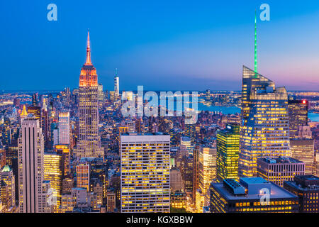 New York Skyline, manhattan skyline, Empire State Building, at night, New York City, United States of America, North - Stock Photo