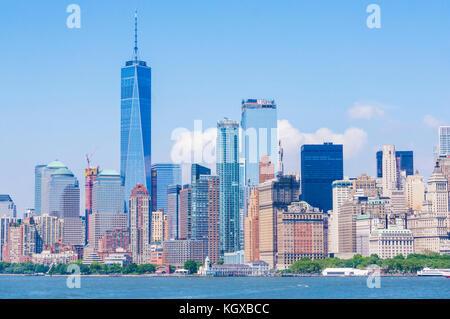 skyline New york city usa new york skyline manhattan skyline with skyscrapers including the freedom tower lower - Stock Photo