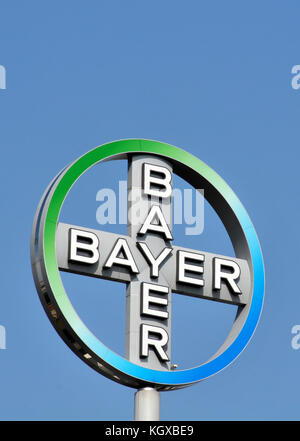 berlin germany the company logo of the pharmaceutical company bayer stock photo royalty free. Black Bedroom Furniture Sets. Home Design Ideas