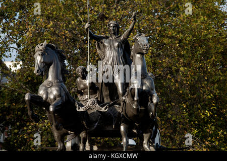 Statue of Boudica or Boudicca, Latinised as Boadicea or Boudicea on Westmister Bridge, London England,UK. Novemember - Stock Photo
