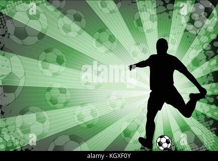 soccer player on the abstract background - vector - Stock Photo