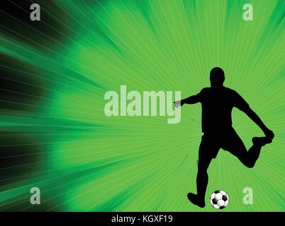 soccer player silhouette on the abstract background - vector - Stock Photo