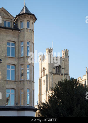 The tower of Great St Mary's church and Cambridge University accommodation buildings in a Cambrudge skyline UK - Stock Photo