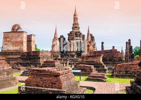 Stupa and Pagoda in Wat Mahathat Temple, Sukhothai Historical Park, Thailand - Stock Photo
