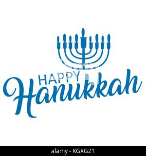 Lettering of happy Hanukkah logo template. - Stock Photo
