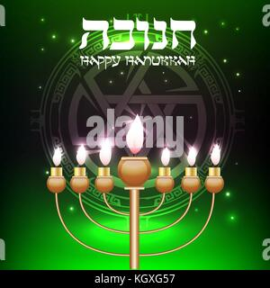 Vector Happy Hanukkah wish card with gold menorah - Stock Photo