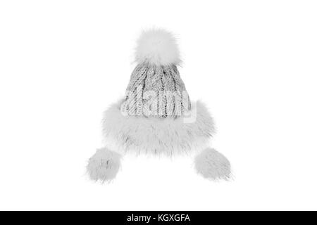Knitted winter hat with fur isolated on white background. - Stock Photo